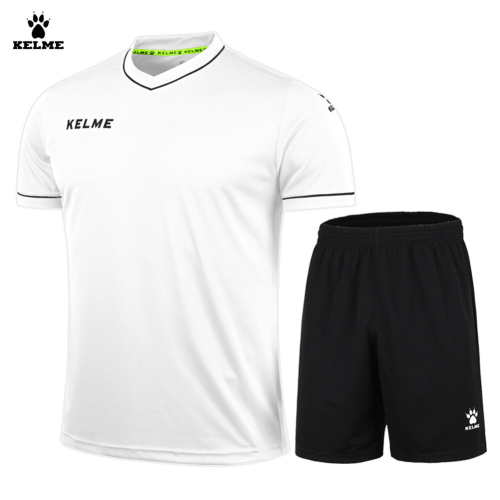 406220e67f Kelme Men Short Sleeve V-neck Breathable Elastic Soccer Suit K15Z204 White  Black image