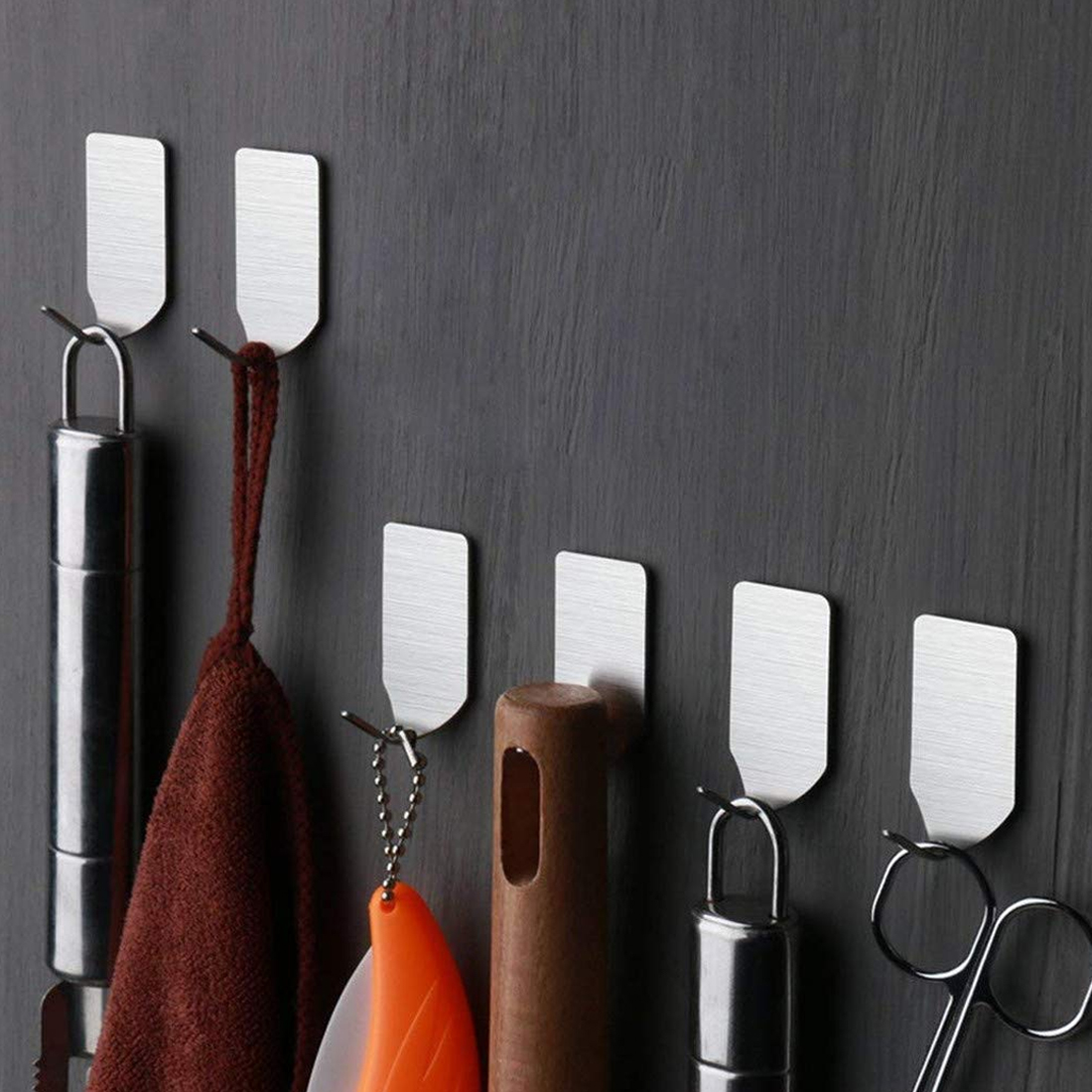 6pcs Adhesive Stainless Steel Towel Hooks Family Robe Hanging Hooks Hats Bag Family Robe Hats Bag Key Adhesive Wall Hanger
