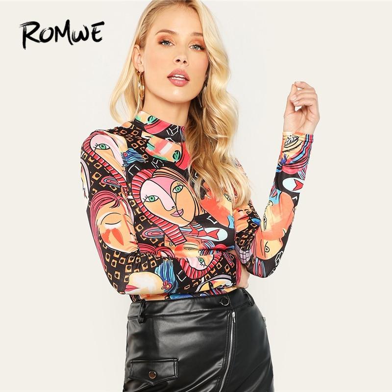 ROMWE Mock Neck Figure Print Long Sleeve Tee Shirt Women Autumn  Elegant Tops Slim Fit Pullovers Clothing For Womens T-Shirt