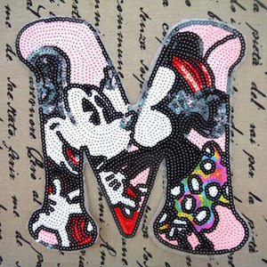 Lace Letter M Mickey Sequins Sew On Patches Cartoon Paillette Cloth Applique Badge Fabric Apparel Sewing Crafts DIY(China)