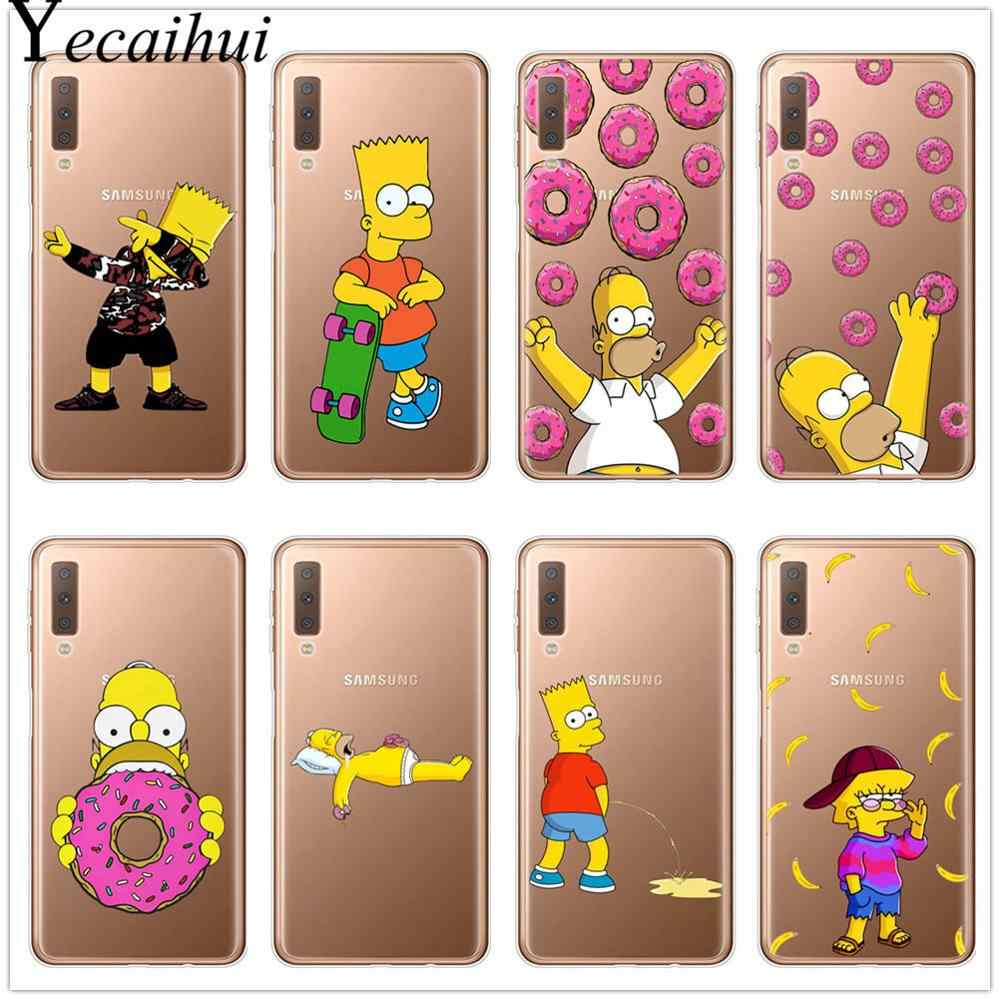 Homer J Simpson funny Bart Simpson Coque Cartoon Phone case for Samsung A7  A9 A6 A8 Plus 2018 S8 S9 S10 Plus TPU Silicone Cover