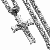 Jesus Cross Silver Necklaces Men Women Pendant Stainless Steel Necklace With 6MM Byzantine Chain Christian Crucifix Jewelry