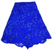 2yard royal blue color african lace fabric george 2019 new arrival sequins for party alibaba express DS