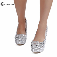 Wedding Shoes Women Pumps Sweet Bridal Crystal Shoes 3 5cmwater table white Female Shoes pointed High Heels photo Shoes sandals