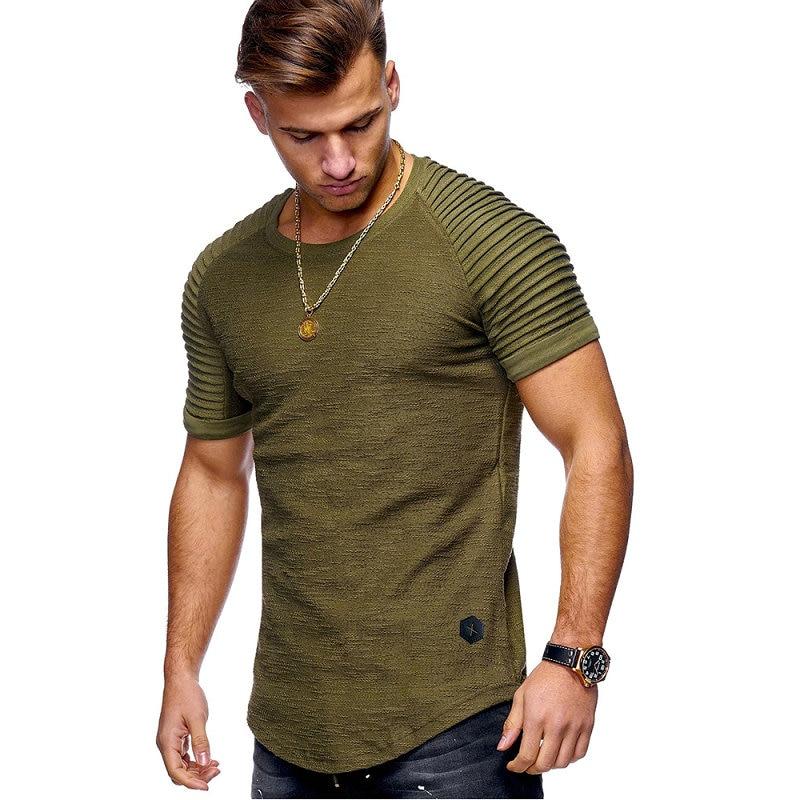 Hot Selling Summer Short Sleeve Men T Shirt Cotton Blended Solid Mens T-shirt Casual Slim Tee Shirt Homme