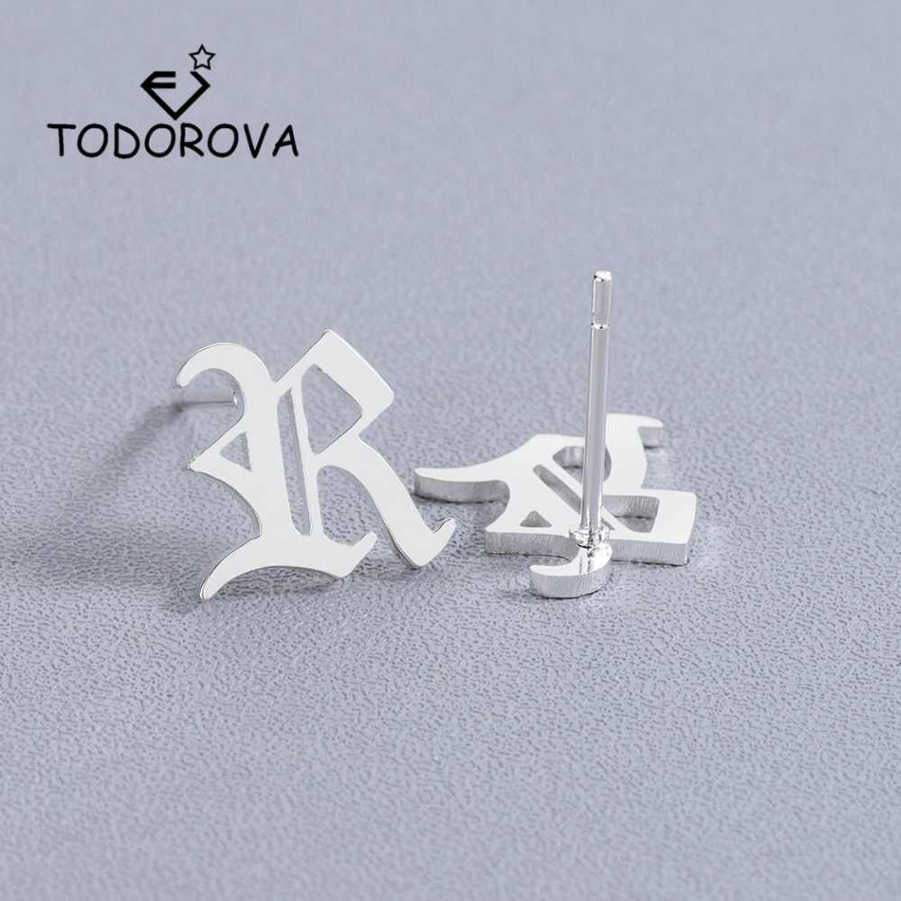 Todorova Multiple Rose Gold Stainless Steel Earrings for Women Old English Letter R Earrings Capital Initial Alphabet Jewlery