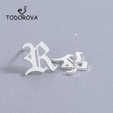 Todorova Multiple Rose Gold Stainless Steel Earrings for Women Old English Letter R Earrings Capital Initial Alphabet Jewlery(China)