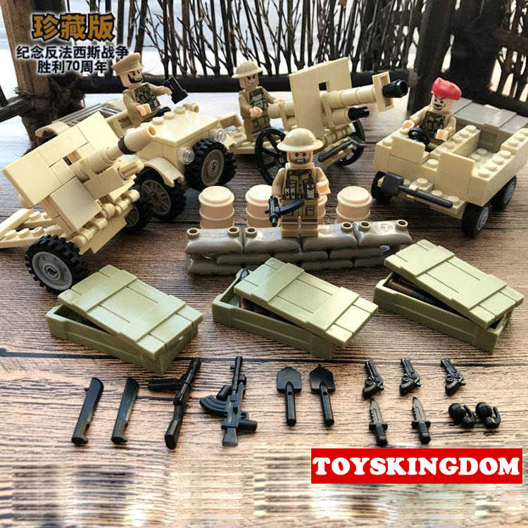World war British troops Campaign North Africa brickmania figures block ww2 army forces minifigs artillery gun weapon brick toys