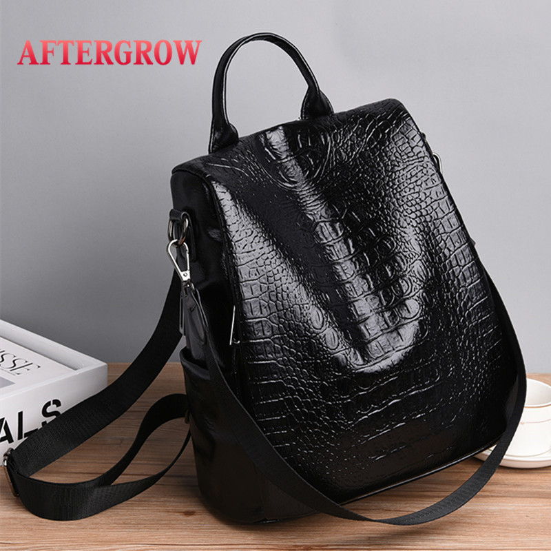 Alligator Large Capacity Women Backpack Female Crocodile PU Leather Plecak Damski Travel Backbag For Teenage Girl Rugzak Vrouwen