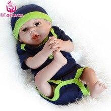 """UCanaan 20"""" 50CM Silicone Dolls Reborn Boy Baby Born Toy Boneca Reborn Silicone Completa Toys For Children Baby Alive Brinquedo"""
