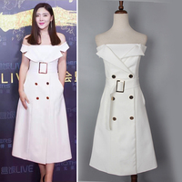 Celebrity Style Slim Double Breasted Medium Long Slash Neck Dress With Buckle Belt Brief Design Dress
