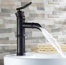 Масло натертый бронза одинарная ручка бамбук форма ванная сосуд раковина раковина смеситель смеситель краны +anf221