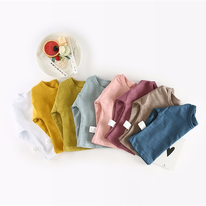 цена на 2018 Kids Boys Girls T-shirt for Spring Autumn Baby Cotton Solid Color O-Neck Long Sleeve T shirts Toddler Classic Top Tees