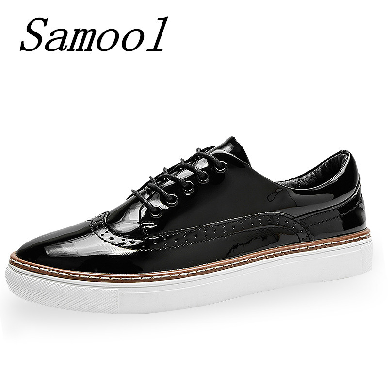Spring Autumn Flats Women Lace-Up Casual Brogue Shoes Creepers Platform Bullock Female Retro Shoes 2018 Spring Derby Shoes jx4 brand new spring men fashion lace up leather retro brogue shoes casual flat breathable carved shoes bullock oxfords shoes wb 55