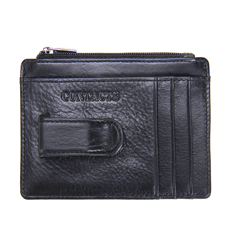 New Brand Design High Quality Genuine Cow Leather Money Clips Fashion Men Wallets With Coins Pocket