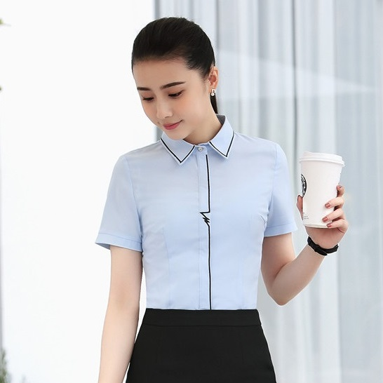 Summer Women Blouses & Shirts Light blue Short Sleeve Office Ladies Work Wear Female Clothes jeans con blazer mujer