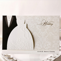 Free Shipping 10pcs/lot Personalized Bride & Groom Couple Wedding Invitations China Made Convite Event & Party Supplies