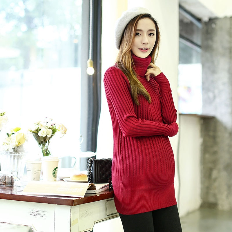 740dfd891b55a Pregnant Women Sweaters Dress Fashion 2018 Autumn Winter Turtleneck Knitted  Soft Warm Loose Pregnancy Pullover Maternity Clothes