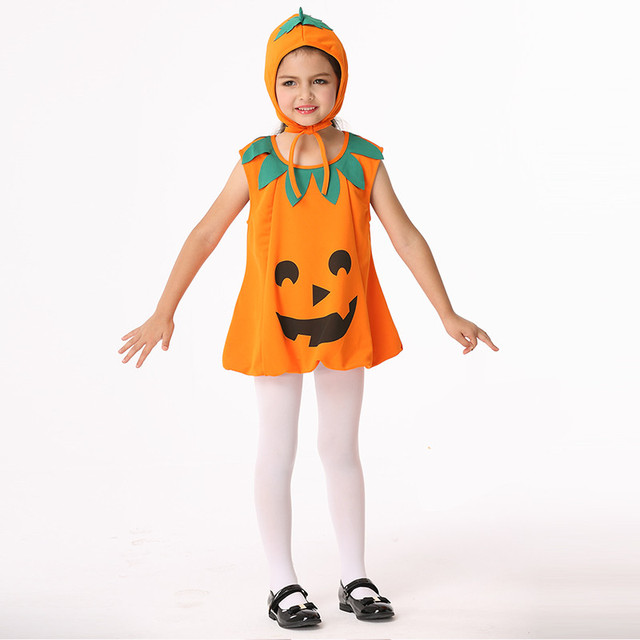 2017 Cute Halloween Costume Kids Pumpkin Outfit Clothes For Party Dress Hat Children