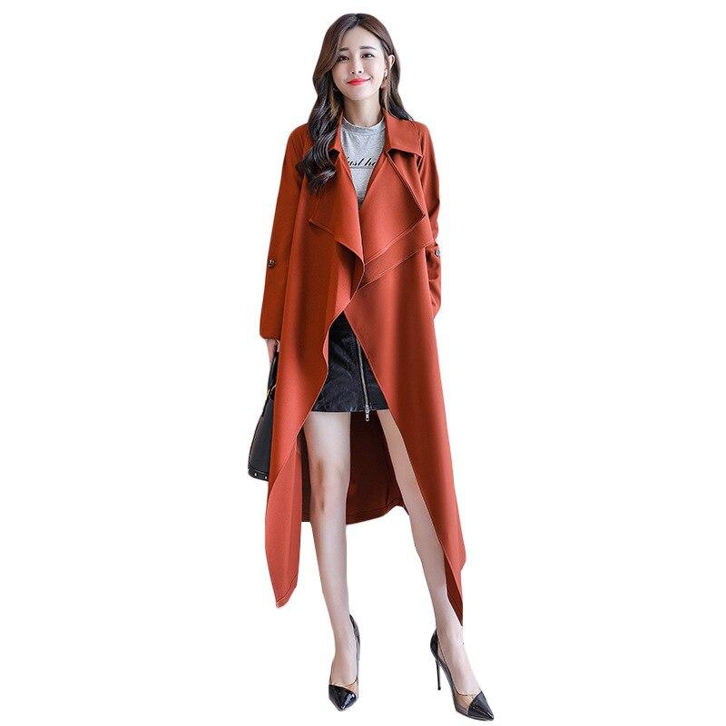 Tempérament Nouvelles Veste vent 2019 Femmes Longue Mince Mode D'automne Slim Army Femme Coupe orange De Automne Section Green YcP1Pnq