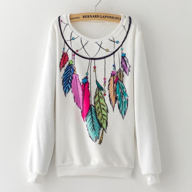 2017 Fashion Women Tops hoodies sweatshirts Cute Dream Catcher Printing Cotton Women's Flannel winter women