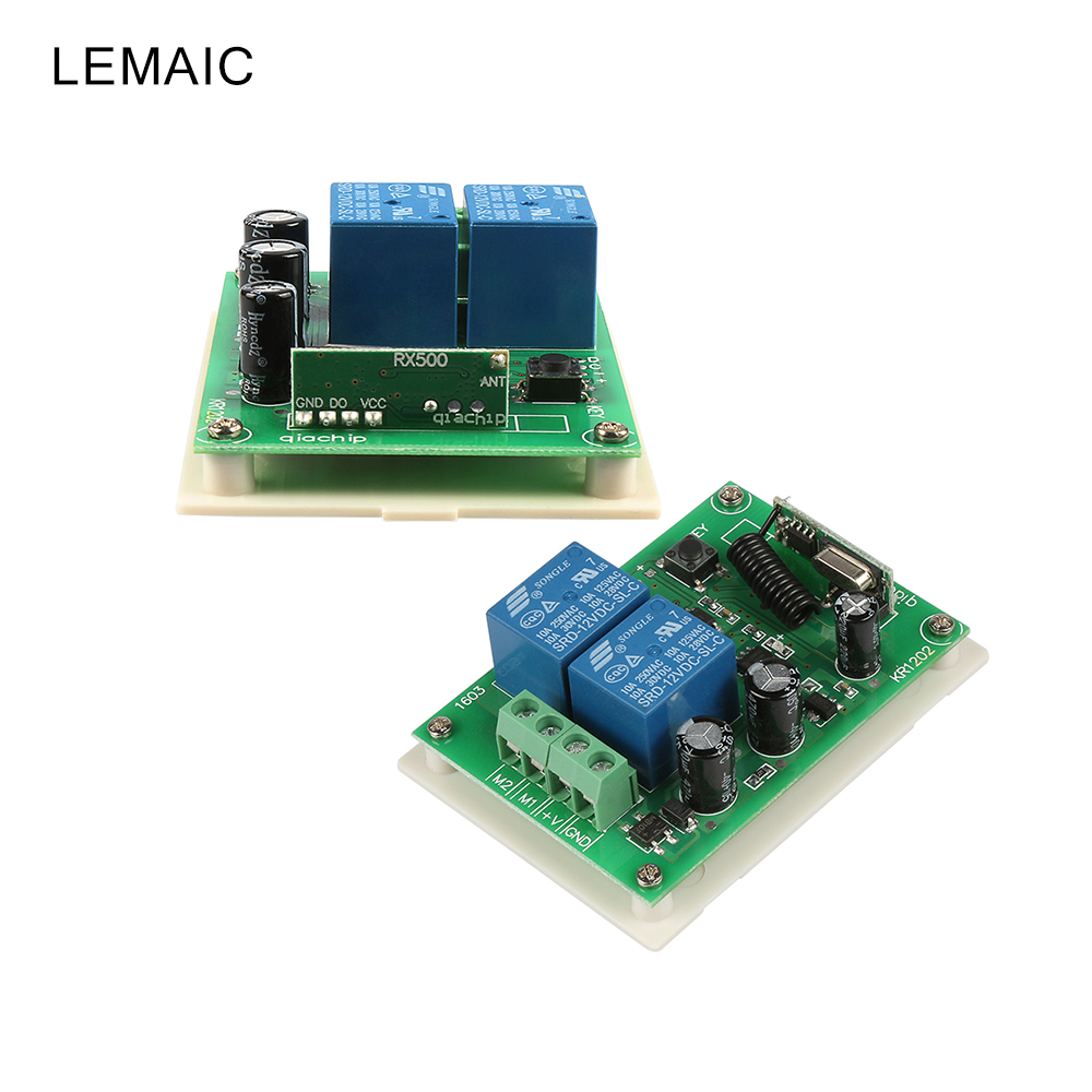 433 Mhz Universal Wireless Remote Control Switches DC 12V 10A 2CH Relay Receiver Module For DC Motor Forward and Reverse Control wireless pager system 433 92mhz wireless restaurant table buzzer with monitor and watch receiver 3 display 42 call button