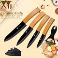 <font><b>XYj</b></font> 5 шт. керамический набор ножей бамбуковая ручка черное лезвие Удобная ручка кухонные ножи бесплатные чехлы Кухонные гаджеты аксессуар