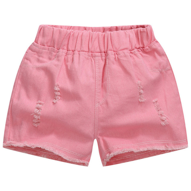 Baby Teenager Shorts Summer Denim Shorts For Girls White Pink Teens Girl Short Jeans 3 4 5 6 7 8 9 10 12 15 Years Old Kids 6