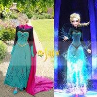 New Adult Princess Anna Elsa Princess Dress Queen Anna Costume Grow Princess Elsa Cosplay Costume for Women Halloween Costumes