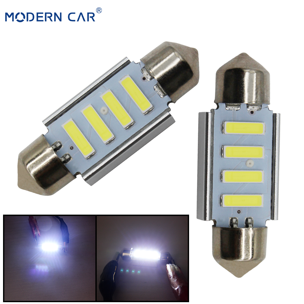 MODERN CAR Interior Dome Lamps Canbus Error Free 31mm 36mm 4SMD 7020 LED Festoon Lamp Bulbs License Plate Lights Reading Light