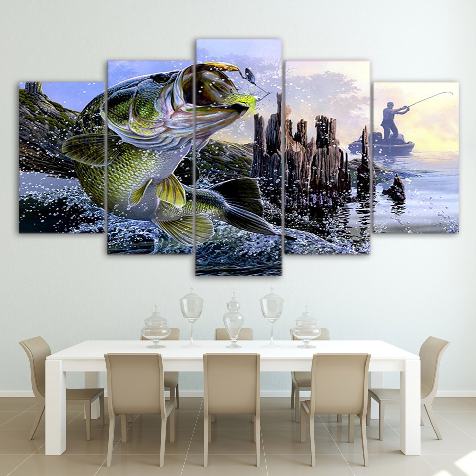 5 Pcs Set Framed Printed Largemouth Bass Fishing Wall Picture Decor Art Print Painting On Canvas For Living Room Home Decor