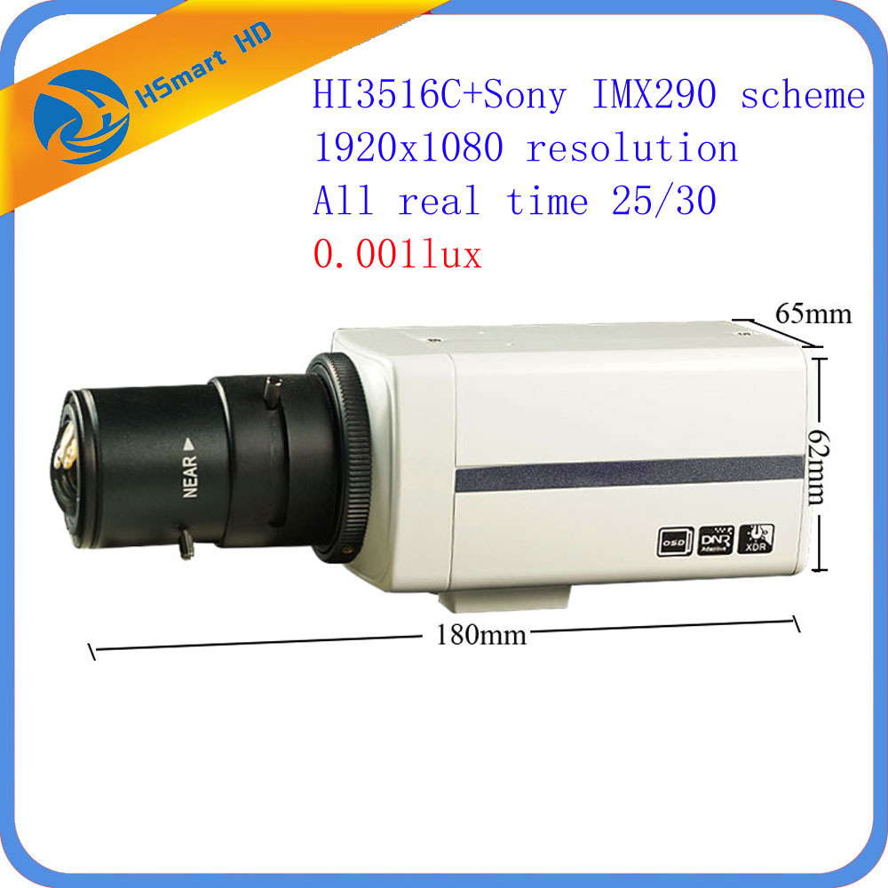 HD Sony IMX290 Security CCTV Box camera Onvif h.265 1080P POE Network Cameras 0.001Lux Low Light