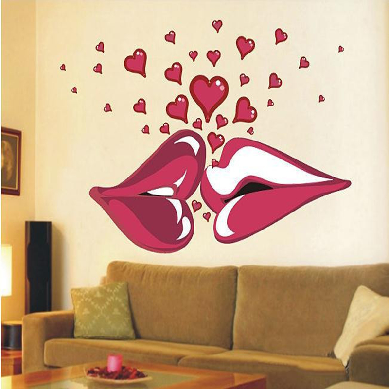 Lovely Large Sexy Lips Kiss Vinyl Wall Stickers Wall Decorations Living Room Walls  Bedroom Decorative Stickers Room Decals Decoration In Wall Stickers From  Home ... Part 8