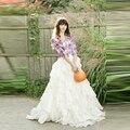 Formal Style White Layered Tiered Skirt Custom Made A Line Floor Length Long Maxi Skirt Custom Made Skirts Women