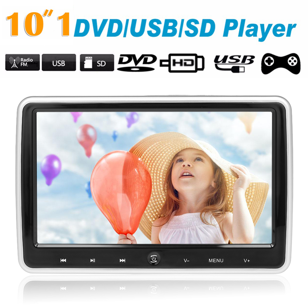 JD 1018D 10 1 Car Headrest DVD Player Auto Monitor Touch Button Player w Speakers Support