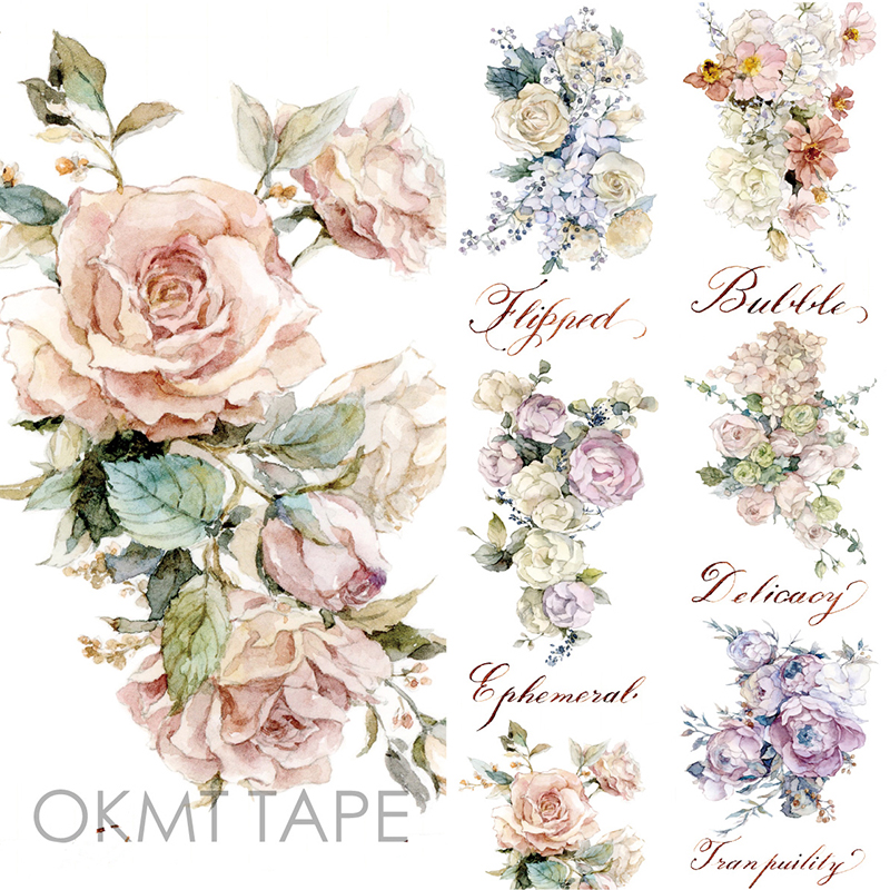 Rose Floral Washi Tape Scrapbook Sticker Flower Masking Tape Material Escolar Washitape Papelaria School Supplies blue whale washi tape papelaria material escolar masking tape stickers scrapbooking washitape fita japanese stationery