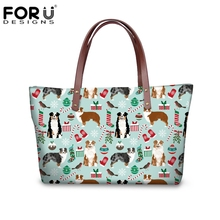 Forudesigns Australian Shepherd Designer Handbags High Quality Las Shoulder Bags With Leather Purse Christmas Gift For