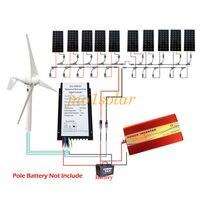 1.4KW Wind System 10*100W Solar Panel & 400W wind turbine generator +controller