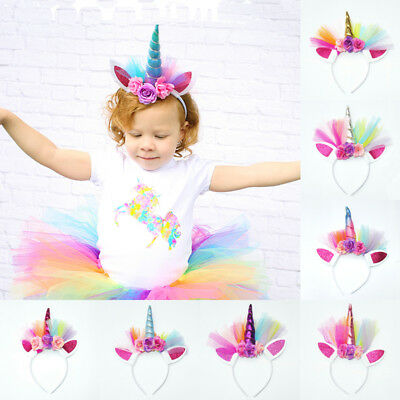 2019 New Unicorn Horn Flower Headband Fancy Dress Kids Adult Party Birthday Magical Gift Flower Floral Headwear Crown Party