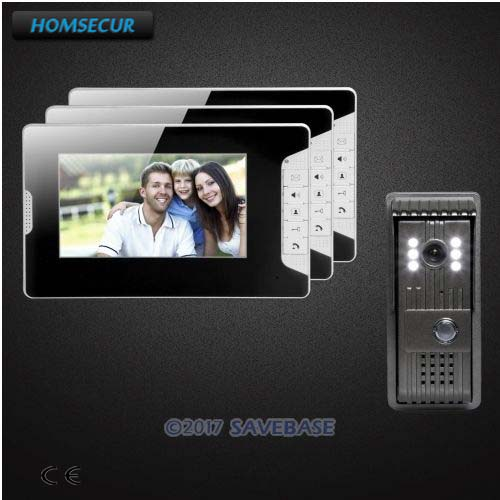 HOMSECUR 1 Camera + 3 Monitors 7inch Video Security Door Phone with Mute Mode for Home Security for House/ Flat