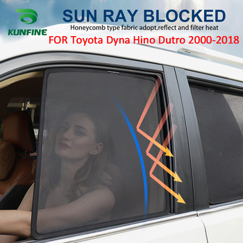 4PCS/Set Or 2PCS/Set Magnetic Car Side Window SunShades Mesh Shade Blind For Toyota Dyna Hino Dutro 2000-2018 Car Curtian Black
