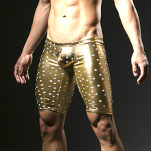 New Arrival Summer 2017 Fashion Faux Leather Printed Men Sexy Novelty Skinny Leggings Bottoms Gay Funny Lounge Pants
