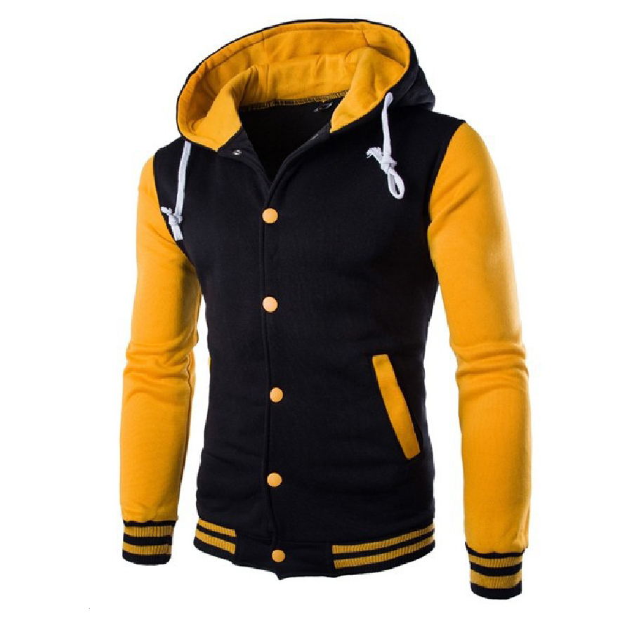 Hot New Style Men Popular Jacket Casual Outerwear Hooded Slim Coat Casual Clothes Baseball Jacket Male Contrast Color Clothing