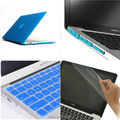 4in1 Sky Blue  Matt Rubberized Hard Case Cover(11 color)+Keyboard Cover+Film+Plug For Apple Macbook Pro 15'' A1286 Free Shipping