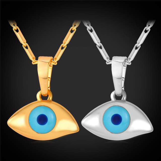 Online Shop Turkish Blue Evil Eye Pendant Necklace For Women yellow Gold  Color Enamel Wholesale Evil Eye Necklace Wholesale P273  23615b3247