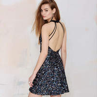 Sequined Summer Sexy Halter Open Back Paillette Dresses Suspenders One Piece Sexy Women Lady Club Dress