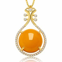 Fashion Pure S925 Silver Natural Beeswax Pendant With Certificate