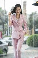 2019 Формальные Элегантные Для женщин волокна красный блейзер, деловые костюмы с брюк и куртки комплект Повседневная обувь форма одежды OL сти