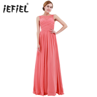 iEFiEL Women's Chiffon Dress Lace Long Dress for Evening Maxi Dress Wedding Prom Gown Vestido de festa Birthday Party Dress