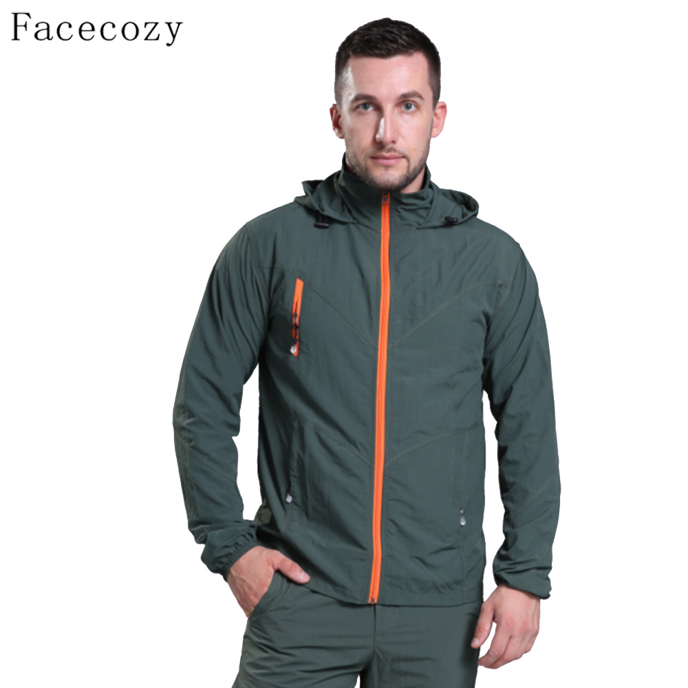Facecozy Men Summer Sun UV Protection Hooded Jacket Male Quick Dry Hiking Jackets Windproof  Outdoor Sport Coats|hiking jackets|quick dry hiking jacket|jacket windproof - title=